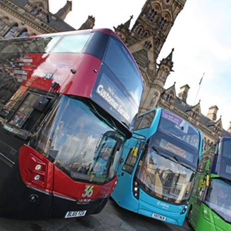 Image of three buses parked