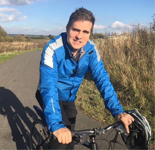 Richard Atkinson, who is cycling to work on the Castleford to Wakefield Greenway.