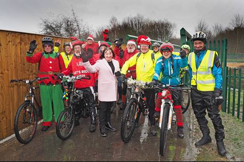 Cllr Kim Groves (front row, third from left) pictured on the Castleford to Wakefield Greenway with members of the Wakefield District Cycle Forum and Sustrans volunteer Steve Jones (front row far right).