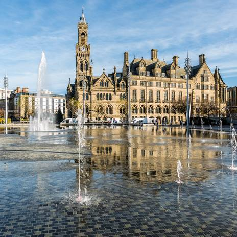 Bradford town hall and mirror fountain