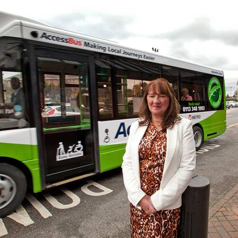Cllr Groves with refurbished, greener AccessBus
